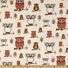 54'' Wide Premier Prints Hooty Owl Village Fabric