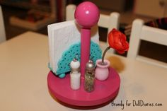 Doll Sized Lazy Susan and Table Accessories - LOVE the napkin holder and sp shakers!