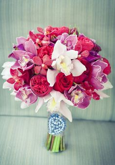 #WeddingBouquet with hot pink flowers and orchids | Brides.com