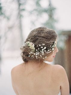 Amazing hair for a winter wedding. Baby's breath crown.
