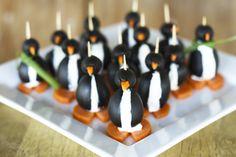 food, black oliv, christmas eve, penguins, green onions, olives, oliv penguin, the holiday, parti