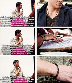 [gifset] Jensen and the fact the jewelry was his idea; he wanted Dean to have it. #JensenAckles