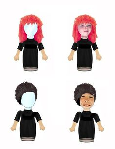 These are finger puppets I designed so that kids could insert their own faces into the clear plastic piece.