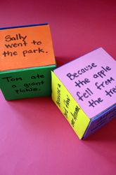 """This activity is called """"poetry dice,"""" but doesn't have much to do with poetry. I like the ideas it can spark, tho. Consider writing phrases or words as prompts on the sides of a wooden block. You can make up games using timers and even use this as a tool for a group to create an exquisite corpse. ~ajviola   http://www.education.com/activity/article/poetry-dice/?cid=90."""