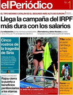"""Merkel, """"El baño de la cancillera"""" - El Periódico de Catalunya / portada controvertida tanto por la foto elegida como por el tono empleado"""