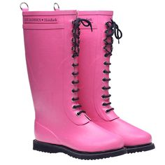 Lace Up Rainboot Tall Pink