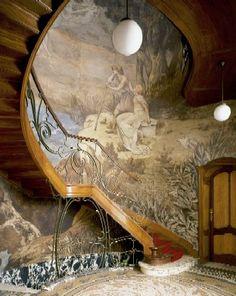 Art Nouveau Staircase at Hôtel Hannon, Brussels, Belgium - design by Jules Brunfaut (Belgian, 1852-1942) - Photo by J.P. Remy
