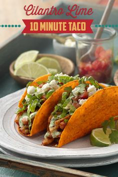Looking for a fresh twist on dinner tonight? Try these Cilantro Lime 10 Minute Tacos! Zesty chicken, cilantro and fresh lime, with your favorite fresh ingredients, piled high in Old El Paso Bold Nacho Cheese Stand N Stuff Taco Shells are sure to be a crowd pleaser! Ready in just 10 minutes!