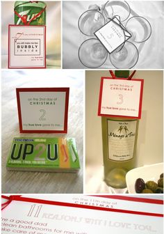 "12 Days of Christmas Gift Ideas for Your Husband (Free printable of ""12 Days of Christmas"" tags )"
