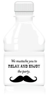 Water Bottle Labels - Mustache Party