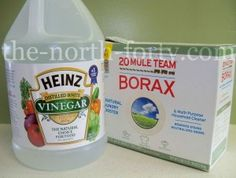 FLOOR CLEANER:   2 cups vinegar & 1/2 gallon hot water.  For regular cleaning, mix them together & mop  any vinyl, tile, linoleum or laminate flooring.  For tougher jobs, add a 1/4 cup of Borax to this mixture.