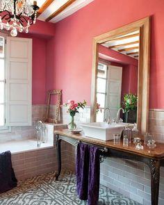 mirror, wall colors, pink bathrooms, vaniti, floor, dream bathrooms, tile, bathroom designs, design bathroom