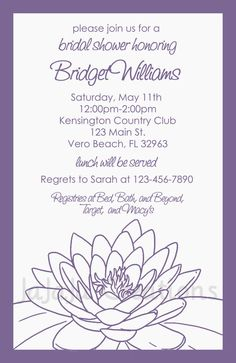 Lotus Flower Bridal Shower Invitation - This beautiful bridal shower invitation is both sweet and modern. The design is simple and chic and features a blossoming lotus flower. Only $11.00