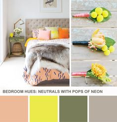 Tuesday Huesday: Neon + Neutral Bedroom Hues (http://blog.hgtv.com/design/2014/03/11/neon-neutral-bedroom-color-palette/?soc=pinterest)