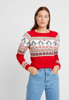 Dorothy Perkins FAIRISLE TINSEL PENGUIN - Trui - red - Zalando.nl