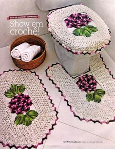 Purple and white bathroom ser bathroom crochet, white bathrooms, crochet bathroom