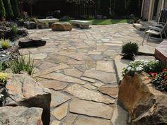 flag stone patio LOVE It! patio design, flag stone patios, flagston patio, front porches, stone walkways