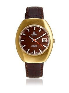 Beyond 50% OFF Second Time Around Watch Company Men\'s 1970\'s Tissot Dark Brown/Burgundy Leather Watch