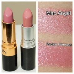 Mac Angel dupe = Revlon Primrose  .... {good to know in a pinch but there's nothing like Mac lipstick - it's the best!} best mac lipstick, best revlon lipsticks, mac lipstick dupes, mac angel dupe, best lipstick, pink lips, mac lipsticks, mac angel lipstick, angel makeup