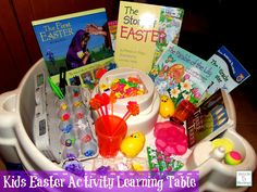 Kids Easter Learning Activity Table http://mamato5blessings.com/2014/03/kids-easter-activity-learning-table-learn-link-linky/