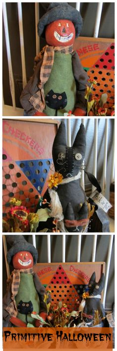 Primitive Halloween - Pumpkin Head and Black Cat