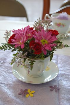 Tea of flowers perfect for a Bridal shower.
