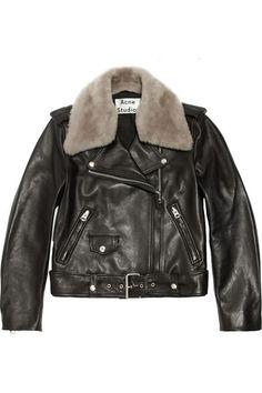 Acne Studios Shearling-trimmed leather biker jacket