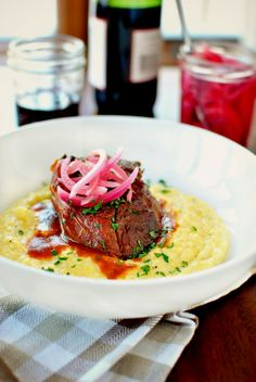 Braised Pork Shoulder and Cheesy Fontina Grits l www.SimplyScratch... #pork #braised #dinner
