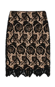 Pencil skirt with black cotton lace over nude underlining