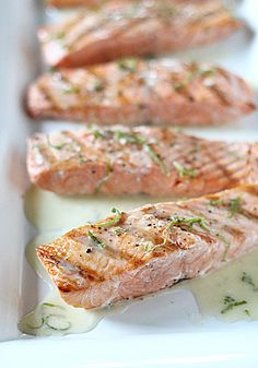 Grilled Salmon w/Lime Butter Sauce