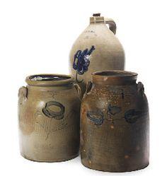 2 whately stoneware crocks and bennington vt jug.