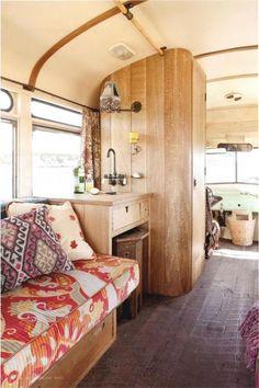 Bohemian retro RV interior.  I'd love to road trip like this!