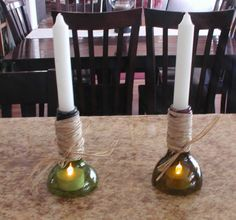 Smaller cut wine bottle candleabras #G2Bottle Cutter #bottleart #upcycle