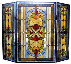Amazon.com: Tiffany Style Victorian Design 3 Pieces Folding Fireplace Screen: Home & Kitchen