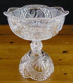 $50.00  German Hofbauer-Lg Clear Crystal Birds Byrds Collection Compote Candy Jar-NO Lid