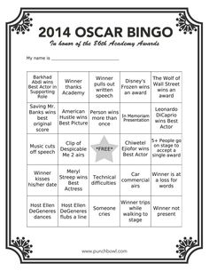 Printable Oscar Bingo 15 unique cards based on 2014 oscar awards