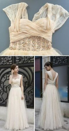 sweetheart neckline, vintage 50s look, sheer shoulders, v-back, silver detailing, tulle A-line skirt... something to think about