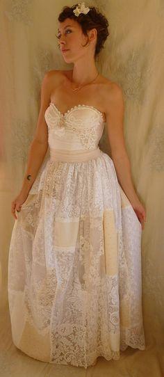 Prairie Bustier Wedding Gown... Size Medium... alternative dress woodland corset boho whimsical patchwork lace free people eco friendly