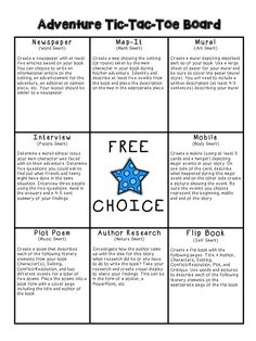 This is a wonderful way to get students excited about reading. This Adventure Tic-Tac-Toe board allows students to tap into their multiple intelligences to complete three activities of their choice to demonstrate their understanding of an adventure book. If you would like the graphic organizers for each activity and a grading rubric, please click on the link below.   http://www.teacherspayteachers.com/Product/Adventure-Book-Project-Choice-Board-1005265
