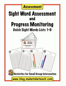 Free sight word assessment for the Dolch 220 sight words.  Assessment materials, recording forms and progress monitoring charts.  Perfect for RtI!
