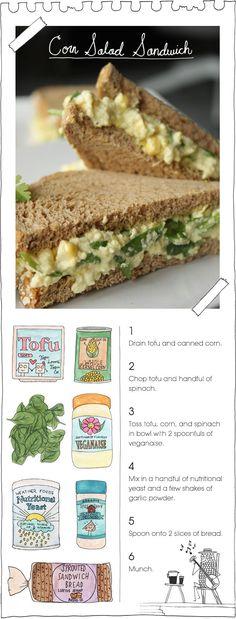<3 Corn Salad Sandwich <3 #MyVeganJournal