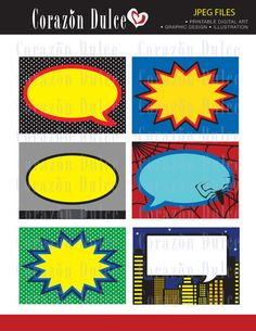 Super heroes Printable Cards/tags, book labels, stickers, kids cards, gift tags, labeling, scrapbooking, etc...... $4.50, via Etsy.
