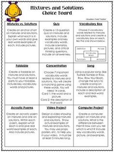 SCIENCE CHOICE BOARDS: SCIENCE PROJECTS FOR ALL UNITS - 4TH, 5TH, 6TH GRADE - TeachersPayTeachers.com
