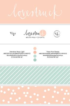 Lovestru.ck Rebranding by Liz White, via Behance logo, branding color scheme, pattern, script fonts, design, color inspir