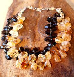 #Smokey Quartz and Citrine Necklace   #citrine #necklace  Repin, Like, Share!  Thanks!