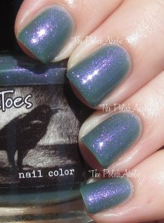 CrowsToes One Mad, Crazy Summer Collection Swatches // Me & This Army is a faded army green base with a strong purple shimmer. Yep...I love this I bet no one is surprised haha! The formula was good but sheer. I actually didn't think this would build up to be opaque but it did! I used 3 coats for the photos below.