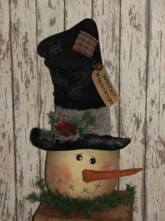 Snowman Head With Tall Hat