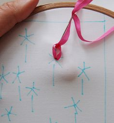 Ribbon embroidery tutorial from the Purl Bee (Lazy Daisy stitch, French Knot, Backstitch, Ribbon Stitch)