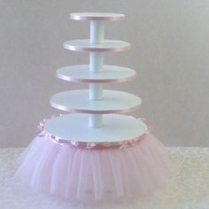 Ballerina Birthday Party 5 Tier Cupcake Tower With Tutu.
