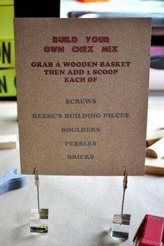 Party food idea-construction themed chex mix (Goody Bag idea)